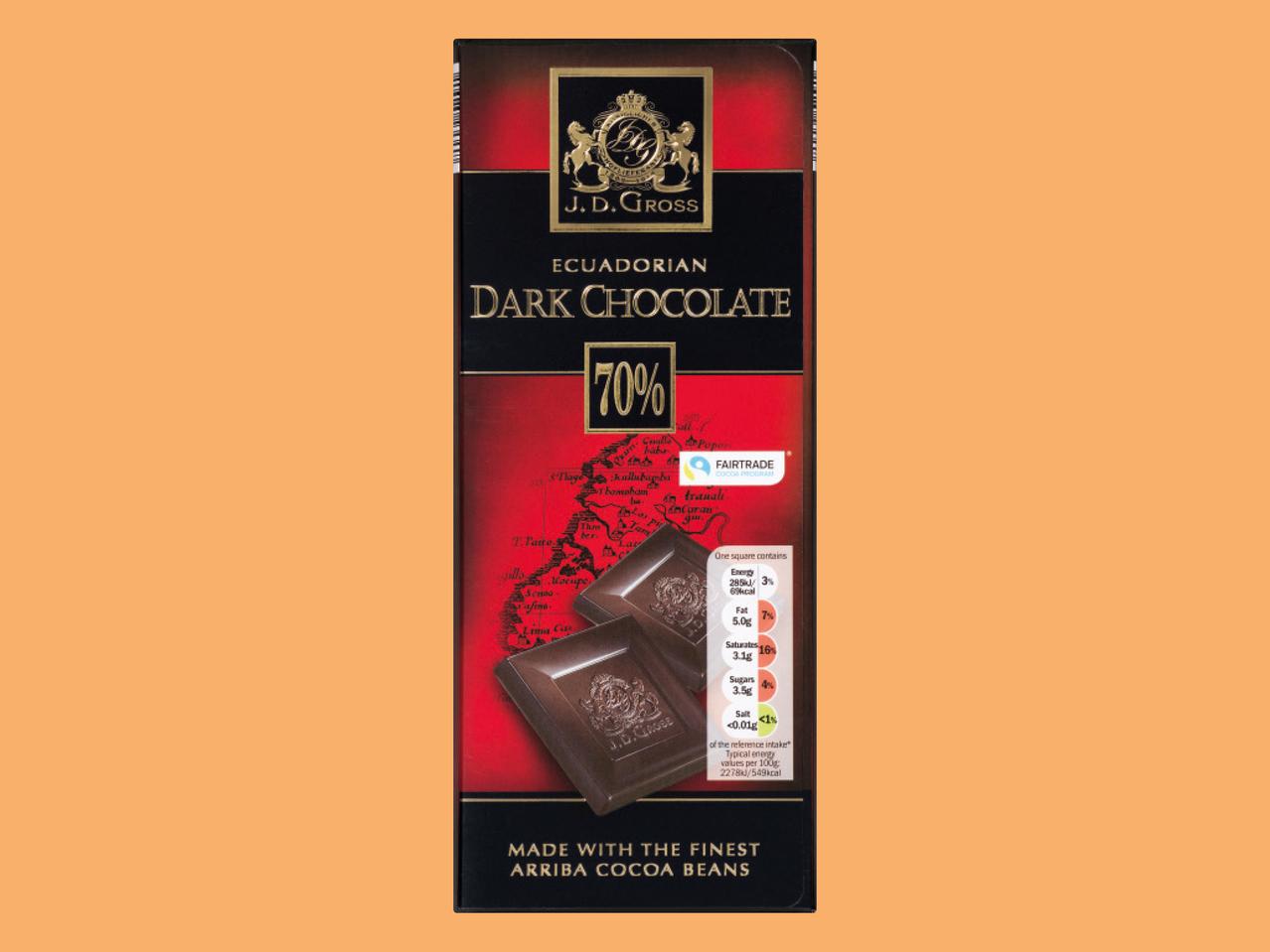 J.D Gross Fairtrade Dark Chocolate1 125g 64p @ Lidl