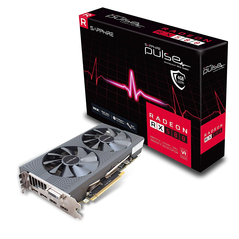 SAPPHIRE Pulse Radeon RX 580 4G GDDR5 Dual HDMI/DVI-D/Dual DP Graphics Card - Black £116.99 Amazon Prime Day Deal