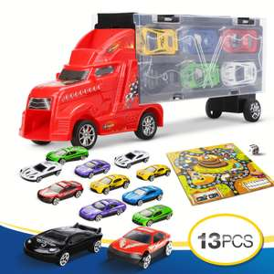 Car Transporter Toy with 12 cars and Map - £6.16 with prime  @ Amazon Warehouse