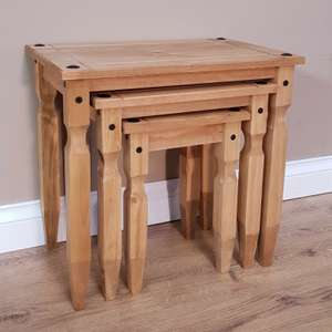 Corona Piccolo Nest of Tables - Mexican Solid Pine £23.16 delivered @ eBay / mercersfurniture