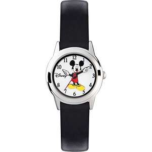 Mickey Mouse Silver Case Black Leather Strap Kids Watch - £10 @ Very