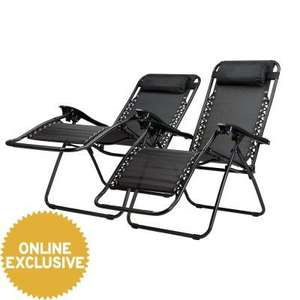 Riviera Multi-position Relaxer Chairs Black 2 Pack - £35.99 / £41.98 delivered at JTF