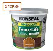 Ronseal Fence Life 2 for £8 for 5L at Homebase. Various colours available