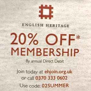 20% off English Heritage membership with code 02SUMMER