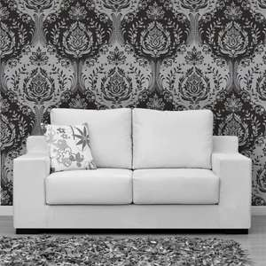 Arthouse Vintage Glitter Berkeley Damask Silver Wallpaper now £8.99 + Free Delivery on Wall Paper @ Brooklyn Trading