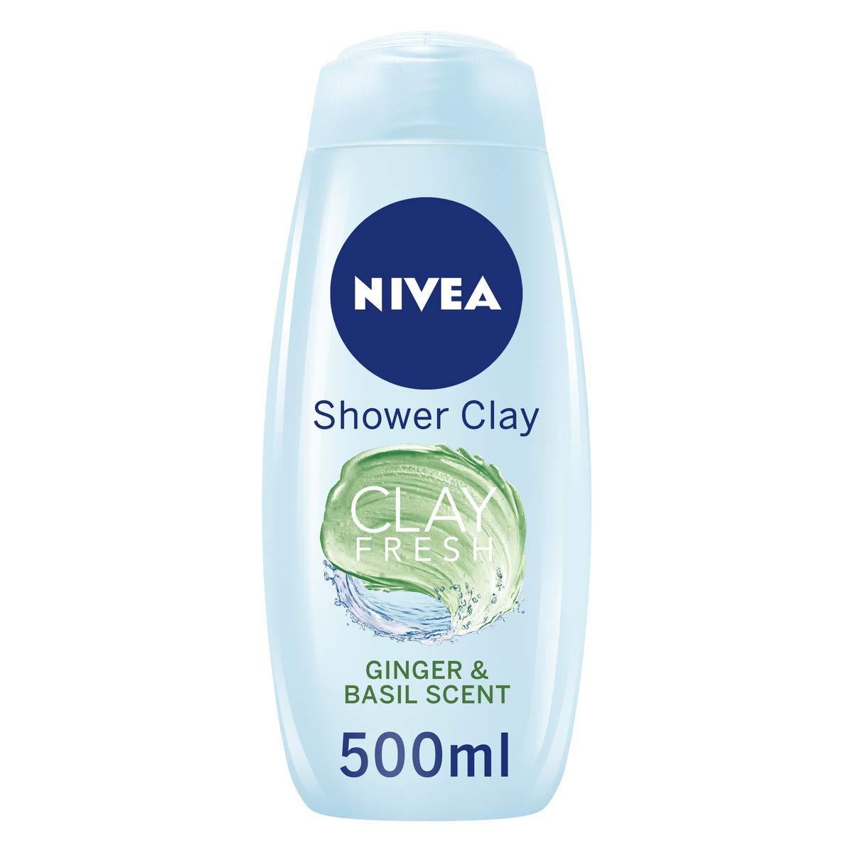 Nivea Shower Clay Fresh Ginger & Basil 500Ml (Pack of 6) £4.13 Hibiscus & White Sage £4.76 (+£4.49 non Prime) @ Amazon