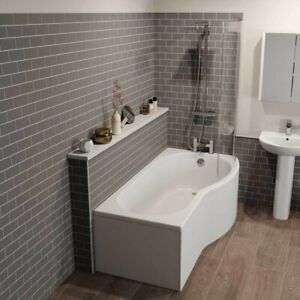 Bathroom Suite P Shaped Right Hand Shower Bath Glass Screen Front Bath Panel £191.99 delivered @ Plumbworld (ebay) with voucher