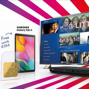Sky Offer Get a FREE Samsung Galaxy Tab A with Sky TV & Sky Mobile Contract (From £28pm/ - 18 Months - £504 Total )