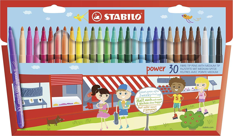 Felt Tip Pen - STABILO power wallet of 30 assorted colours now £5 (Prime) + £4.49 (non Prime) at Amazon