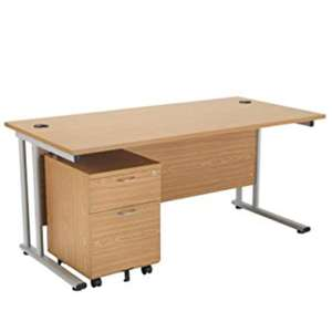 Office Hippo Professional Cantilever Office Desk with 2 Drawer Mobile Pedestal, Wood, Oak for £118.79 @ Amazon (+5 years guarantee)