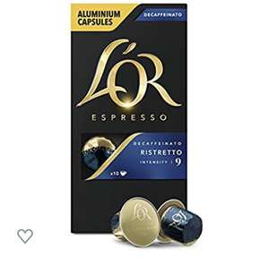 LOR ristretto decaffeinated 100 capsules nespresso £9.89  - Sold by Choice Stationery Supplies Limited on Amazon