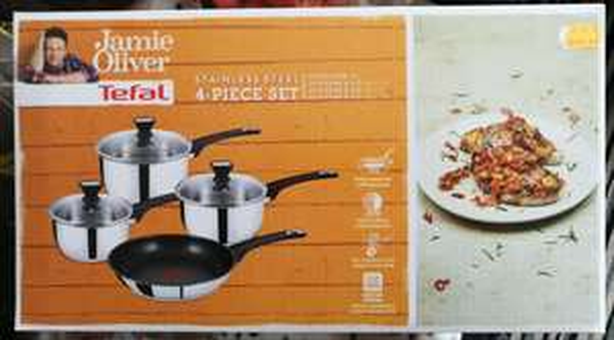 Tefal Jamie Oliver 4 piece stainless pan set £39.99 @ Watt Brothers