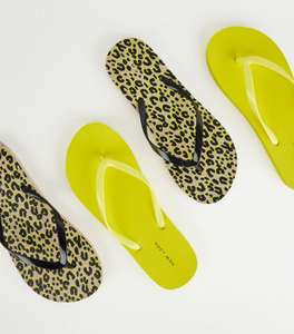 Brown Animal and Neon Yellow Print Flip Flops, 2 pairs - £2 (+ £3.99 C&C or Delivery) @ New Look
