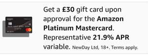 £30 Amazon.co.uk Gift Card for new Amazon Platinum Mastercard cardholders