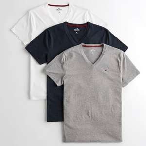 Hollister must have v neck tshirt 3pk - XS to M £9.59 C&C or +£4.99 delivery @ Hollister