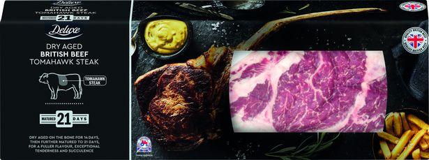 Deluxe Dry Aged British Beef Tomahawk Steak 0.8kg–1.2kg, £14.99 per kg @ Lidl