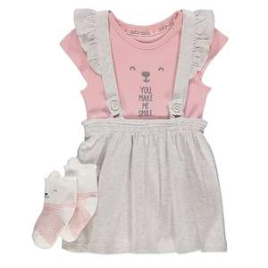 Asda George girls grey pinafore dress with bodysuit and socks outfit online £4 down from £7. All sizes 0-3 to 18-24