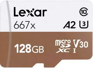 Lexar 128GB Professional Micro SD (SDXC) Card UHS-I U3 A2 + Adapter (for 4K recording) - 100MB/s + 10 Year Warranty - £19.99 @ MyMemory