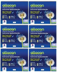 6 Months Supply Allacan Cetirizine Hayfever Allergy Tablets 30 x 6 for £3.25 delivered, Sold by Chemist Extra @ Amazon UK