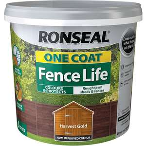Ronseal One Coat Fence Life Exterior Wood Paint (Dark Oak/Red Cedar/Forest Green and Harvest Gold)  5L £4 @ Wilko