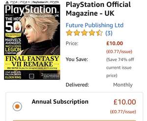 Amazon Annual magazine subscription £5- £10 kindle edition including PlayStation official magazine FourFourTwo and more