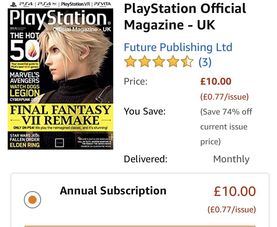 Amazon Annual magazine subscription £5- £10 kindle edition