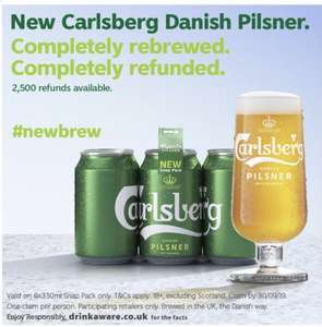 Carlsberg Pilsner 6pack full refund - £4.50 @ Supermarkets