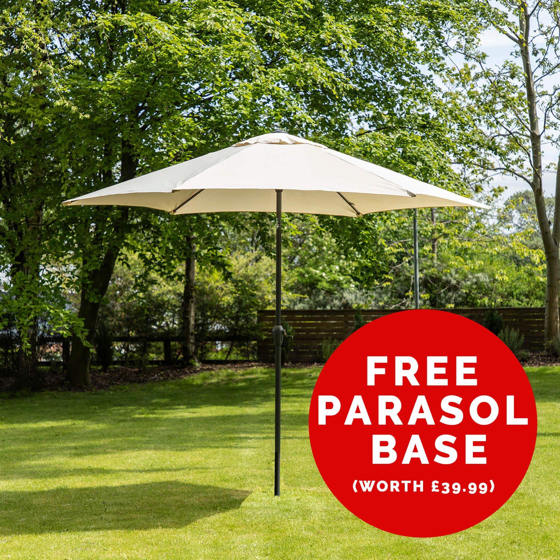 3m Aluminium Wind Up Garden Parasol + FREE 16kg Weave Effect Parasol Base at Alfresia £44.99
