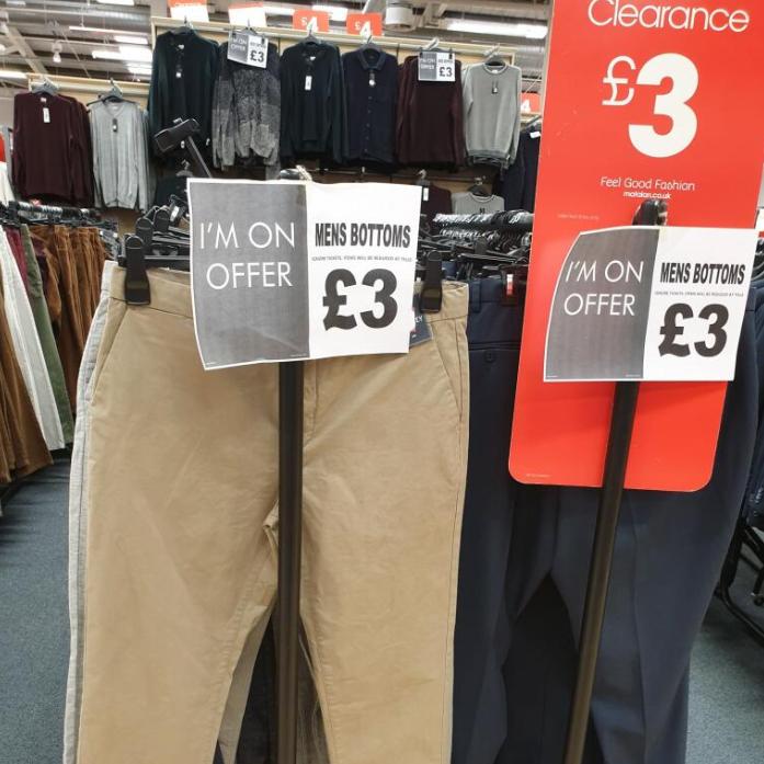 Various mens bottoms £3 instore @ matalan renfrew