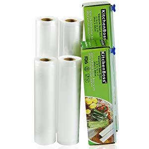 [Lightning deal] KitchenBoss Vacuum Sealer Rolls 4 Rolls 20 * 500cm and 28 * 500cm, for sous vide or packaging