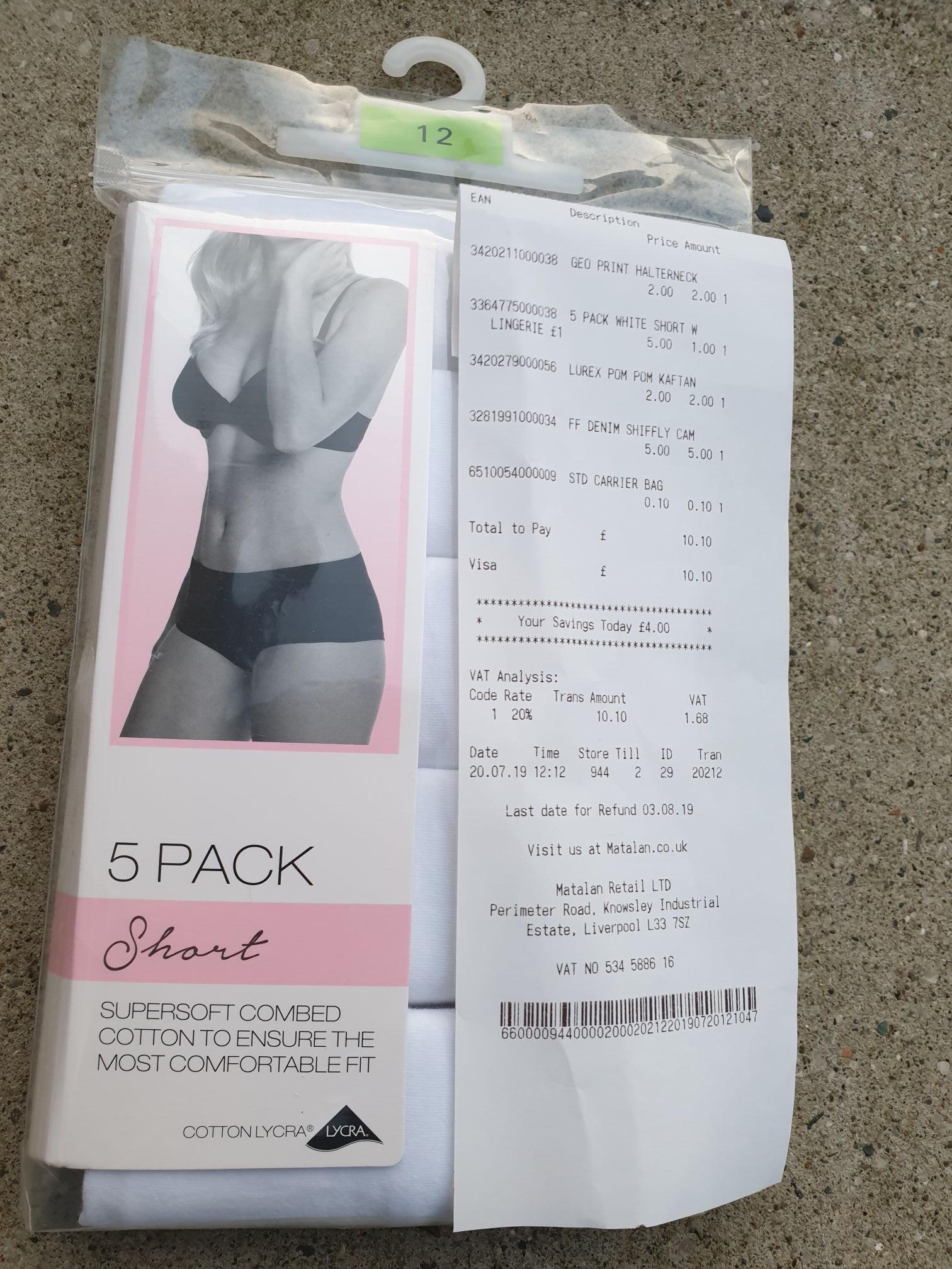 Lycra 5 pack short was £5 now £1 @ Matalan Renfrew