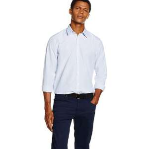 NEW LOOK Men's Bengal Fine Stripe Blue Shirt (Size Small) only £3.56 [Add-on Item] at Amazon.co.uk