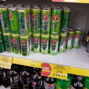 Carabao sugar free apple energy drink. 27p or 4 for £1 @ Poundstretcher