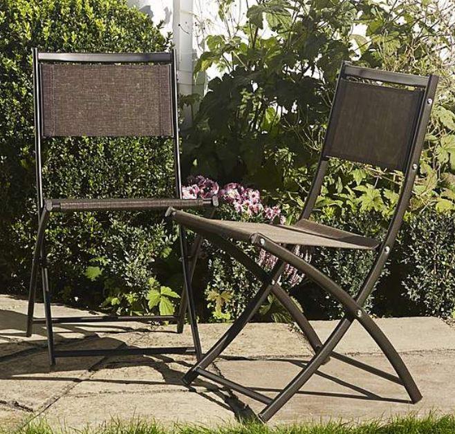 Set of 2 Bronze Textolene Folding Chairs - £12.50 at Dunelm