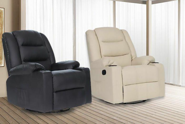 Leather Cinema Massage Sofa Recliner Chair - 4 Colours - £179.99 @ Wowcher