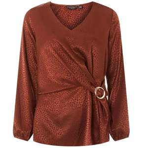 Dorothy Perkins Chocolate Jacquard Wrap Top was £28 Now £6 Online