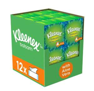 Kleenex Balsam Extra Large Facial Tissues (Protective Balm), Pack of 12 Compact Tissue Boxes £13.99 (Prime) / £18.48 (non Prime) @ Amazon