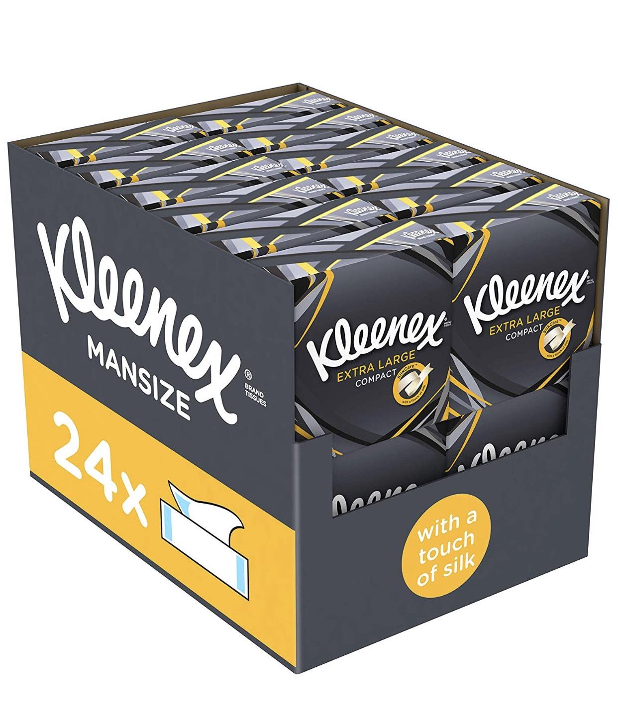 Kleenex Extra Large Mansize Tissues x 24 boxes £14.49 (Prime) / £18.98 (non Prime) Amazon = 60 pence per box!