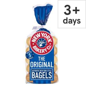 New York Bakery Plain / Wholemeal / Sesame / Cinnamon & Raisin / Red Onion & Chive Bagels 5 Pack £1 @ Tesco