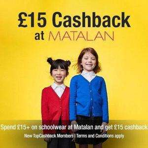 Free school uniform: £15 cashback at Matalan via TopCashback for schoolwear purchases (new TopCashback members)