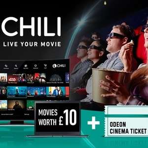 £5.99 (£4.79 with code) for £10 chili Credit Plus One Ticket to Odeon Cinema at CHILI via Groupon