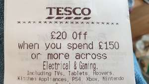 £20 off £150 electrical spend at Tesco