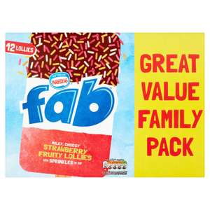 Fab Strawberry Fruity Lollies 12 x 58ml £1.50 + Free selected Ice Cream worth £1 with code online  @ Iceland