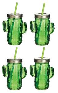 BarCraft Tropical Chic Novelty Glass Drinking Jars with Straws, 400 ml £9.99 (Prime) / £14.48 (non Prime) at Amazon