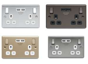2 Gang Raised / Flat Plate Sockets with 3.1A USB Charger (Various Finishes: Polished Chrome/Steel/White/Black) from £5.40 @ Homebase c&c