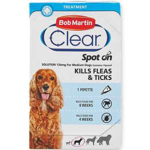 Bob Martin Wormer and Flea Treatment Starts Tomorrow - Medium Dog Spot On Starts Tomorrow £2.99 at Aldi
