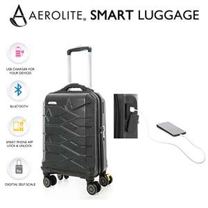 Aerolite Hard Shell 8 Wheel Suitcase w/ SMART USB Mobile Charging Port & Bluetooth Self-Weighing ABS - £49.99 @ Travel Luggage Cabin Bags