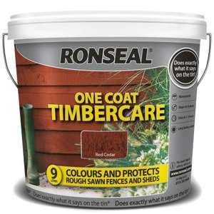 Ronseal One Coat Timbercare - Red Cedar 9L for £1 @ B&M