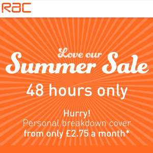 48 Summer sale on Personal Breakdown Cover by RAC - new customers only