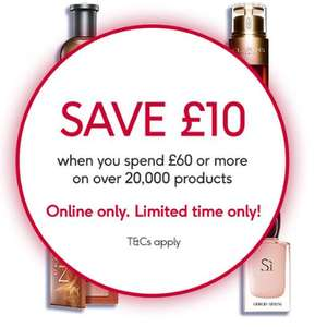 Online Only - Save £10 when you spend £60 or more  - stacks with discounts, 3 for 2 offers and more @ Boots